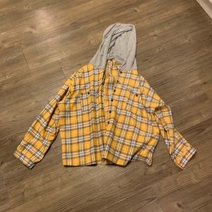 Yellow hooded flannel